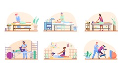 Massage people set, relaxing procedure in beauty salon or rehabilitation therapy, vector illustration. Professional masseur cartoon characters, healthcare treatment. Masseuse in wellness spa center