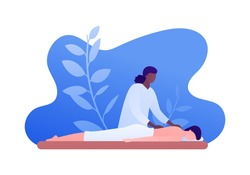 Massage therapy concept. Vector flat people illustration. African american woman therapist massaging and patient person lying on couch. Design for health care, wellness.