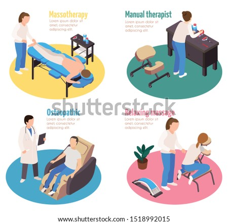 Massage therapy isometric 4x1 set of compositions with editable text and characters of physicians with patients vector illustration