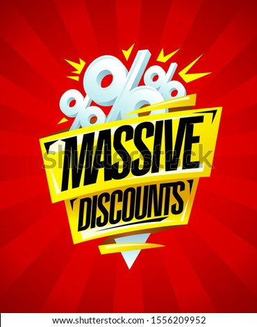 Massive discounts sale banner design with origami ribbons and percent symbols, backdrop with rays