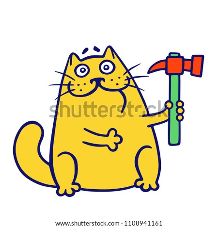 master cat holds a hammer
