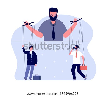 Master of puppets. Political controlling, business boss and workers. Team control and marionettes. Vector puppeteer leads people concept