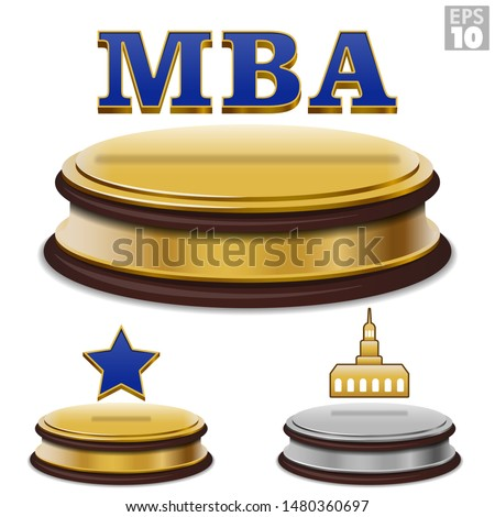 Masters of Business Administration MBA college degree floating on a golden presentation award with a star and university building icon.