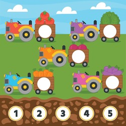 Match game for kids. Counting from 1 to 5. Count the vegetables in the tractor. Children funny education riddle entertainment and amusement.  Vector illustration