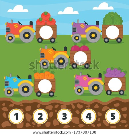 Match game for kids. Counting from 1 to 5. Count the vegetables in the tractor. Children funny education riddle entertainment and amusement.  Vector illustration Stockfoto ©