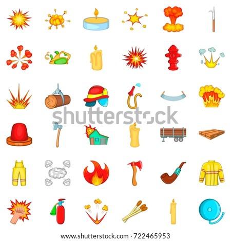 match icons set cartoon style