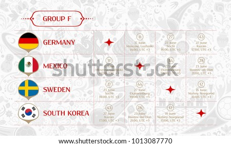Match schedule group F, flags of countries participating to the international tournament in Russia, date, time & location, traditional russian background 2018 trend, match calendar, vector