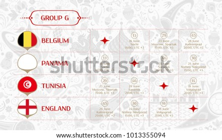 Match schedule group G, flags of countries participating to the international tournament in Russia, date, time & location, traditional russian background 2018 trend, match calendar, vector