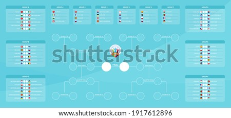 Match schedule, template for web, print, football results table, flags of European countries participating to the final tournament of european football championship 2020. Euro 2020 vector illustration