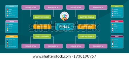 Match schedule, template for web, print, football results table, flags of European countries participating to the final tournament of european football championship Euro 2020. vector illustration