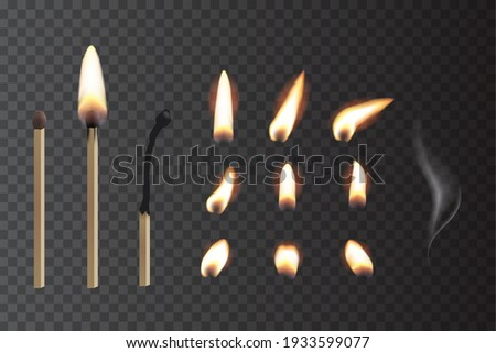 Match sticks with flame sequence set. Wooden matches, burning, hot and glowing red, blown out. Abstract realistic vector illustration. Lights, flames and smoke collection on transparent background. Foto d'archivio ©