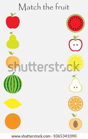 Match the fruit  in cartoon style for children, preschool worksheet activity for kids, task for the development of logical thinking, vector illustration