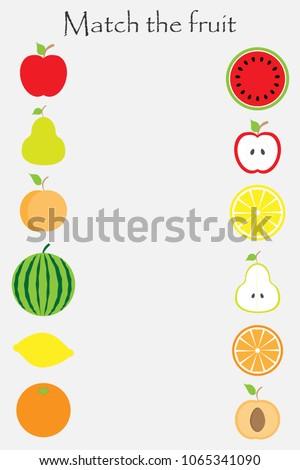 match the fruit  in cartoon