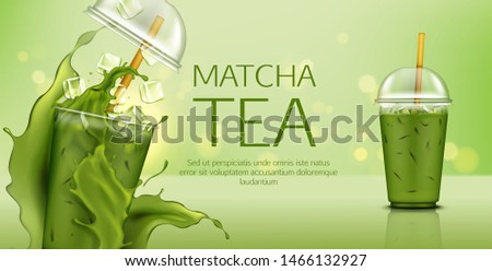 Matcha green tea with ice cubes in takeaway plastic cup with cap and straw mock up banner with splash, cold summer drink ads poster for cafe, healthy fresh beverage. Realistic 3d vector illustration