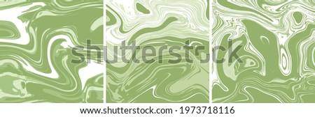 Matcha Latte Swirls. Vector Marble Texture Square Tile Triptych. Ink Marbling Paper Background. Elegant Luxury Backdrop. Liquid Paint Swirled Patterns. Japanese Suminagashi or Turkish Ebru Technique. Stok fotoğraf ©