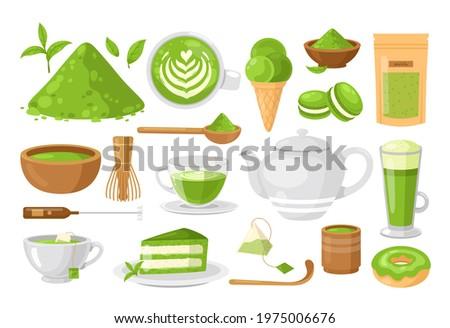 Matcha tea. Vector set of organic tea matcha powder, tea leaves, teapot, matcha latte, macarons, spoon, traditional cup, whisk, tools for Japanese ceremony. Matcha green tea ceremony. Healthy drink