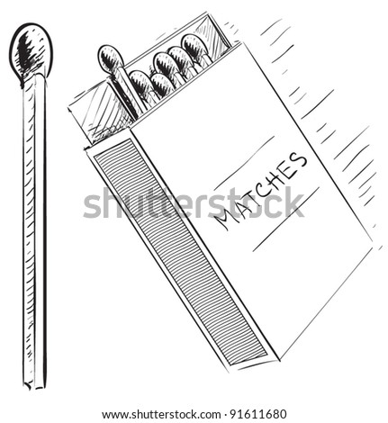 Matches and matches-box sketch doodle icon