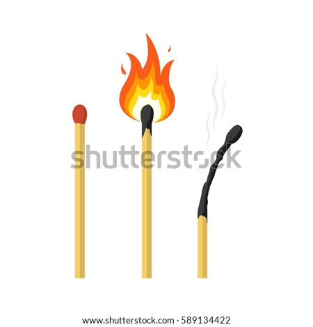 Matches, lighted match and burned match. Vector illustration.