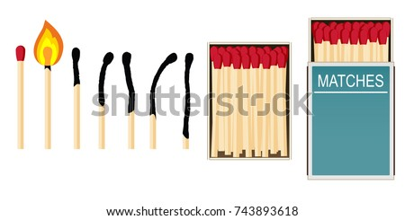 Matches. Set of vector illustrations: burning match with fire, opened matchbox, burnt matchstick isolated on white. Simple symbol of ignition, burning and withering.