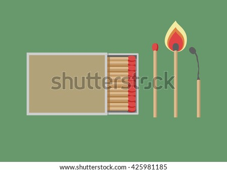 Matches vector, burned match, burning match, rest of the match