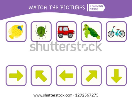 Matching children educational game. Match of objects and arrows. Activity for pre sсhool years kids and toddlers. Сток-фото ©