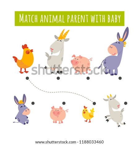 Matching children educational game. Match pairs of farm animals: cow, goat, pig, donkey. Activity for preschool years kids and toddlers. Mother and baby