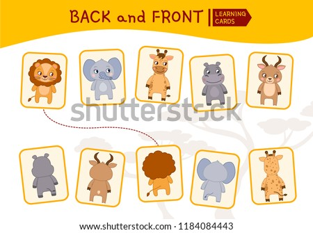 Matching children educational game. Match parts of african animals. Activity for pre shool years kids and toddlers. Back and front.