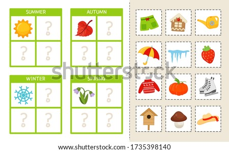 Matching children educational game. Match seasons and objects. Activity for pre sсhool years kids and toddlers.