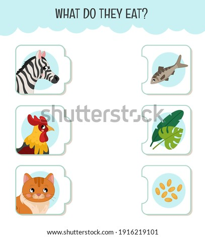 Matching children educational game. What do they eat?. Activity for pre sсhool years kids and toddlers. Animals and food. Stock photo ©