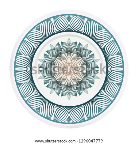 matching decorative plates. Decorative mandala ornament. Vector illustration. for interior design, circle medalion, colorful kitchen.