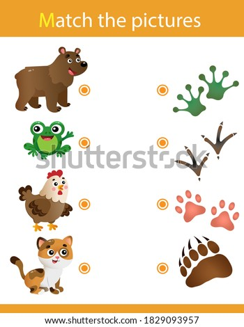 Matching game, education game for children. Puzzle for kids. Match the right object. Animal tracks. Whose trail? Bear, frog, chicken, cat. Foto stock ©