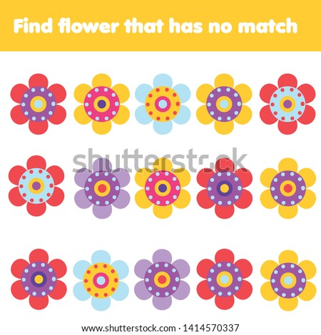 Matching game. Educational children activity. Find flower with no match. Learning activity for pre scholl years kids and toddlers #1414570337