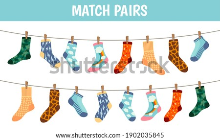 Matching socks game. Puzzle find pair. Preschool children educational worksheet activity. Socks on laundry rope. Match sock patterns vector. Game matching sock, match different illustration