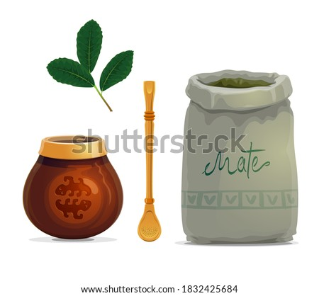 Mate tea drink cartoon vector of yerba mate plant leaves, calabash gourd cup, metal bombilla straw and bag of dried branches. South American hot beverage with accessories Foto stock ©