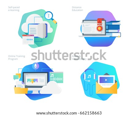 Material design icons set for distance education, audio and video library, online training and courses, self-paced e-learning. UI/UX kit for web design, applications, mobile interface, print design.