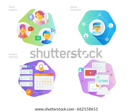 Material design icons set for online education, apps, virtual classroom, education network, lecture program for teachers. UI/UX kit for web design, applications, mobile interface, print design.