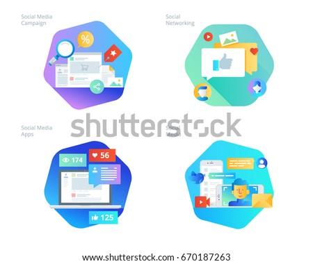 Material design icons set for social media, networking, marketing, campaign and apps. UI/UX kit for web design, applications, mobile interface, infographics and print design.