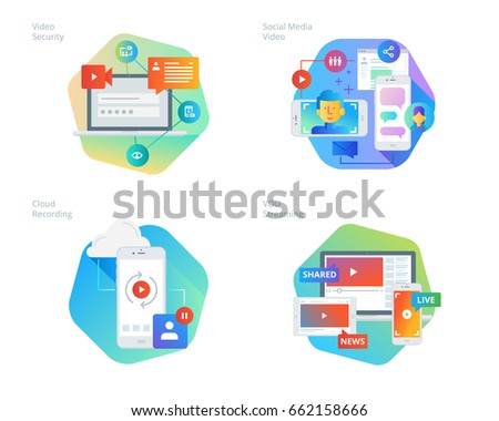 Material design icons set for social media video, cloud recording, VOD streaming, video security, online video streaming. UI/UX kit for web design, applications, mobile interface, print design.