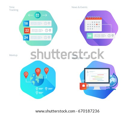 Material design icons set for time manager, news and events, meetup, task management, time tracking. UI/UX kit for web design, applications, mobile interface, infographics and print design.