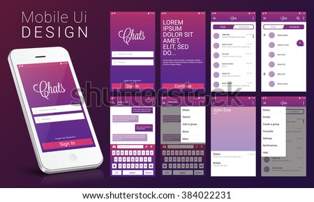 Material Design UI, UX, GUI screens and flat web icons for mobile apps, responsive website including Sign Up Screen, Welcome Screen, Chat Screen, Contact List Screen, Chat Screen and Setting Screens.