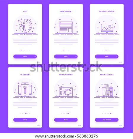 Material Design, UI, UX, GUI template set of Art, Web, Graphic, UI Design, Photography and Architecture for e-commerce business concept.