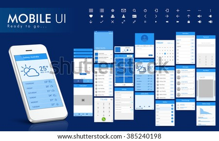 Material Design UI, UX Screens, flat web icons for mobile apps, responsive websites with Sign In, Calendar, Contact List, Message, Stopwatch, Music, Calculator, Security, Search, Data Usages Features.