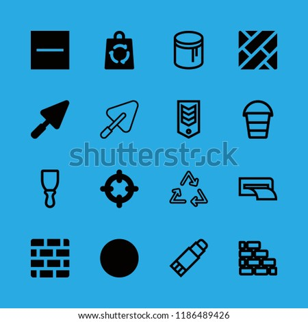 material icons set with substract, brick wall and craft vector set