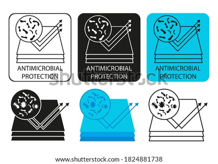 Material with antimicrobial and antiviral protection surface for body, hands and baby hygiene. Antimicrobial protection resistant to microorganisms product. Antibacterial layer. Vector illustration Stok fotoğraf ©