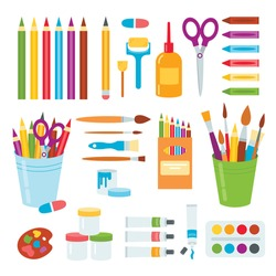 Materials for children 's creativity. Colored pencils, paints, scissors, glue, brushes, rollers.Flat style. Isolated on a white background.