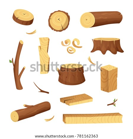Materials for wood industry. Tree lumber, trunk. Vector pictures set in cartoon style. Wooden trunk, ilustration of firewood material