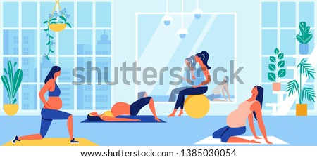 Maternity Group Fitness Class with Aerobic Muscles, Fitball and Balance Exercises for Pregnant Women. Girls Prepare to Childbirth Working Out in Gym. Sport, Gymnastics Cartoon Flat Vector Illustration
