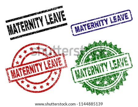 MATERNITY LEAVE seal prints with damaged surface. Black, green,red,blue vector rubber prints of MATERNITY LEAVE label with scratched surface. Rubber seals with round, rectangle, medal shapes.