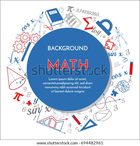 Math background announcement white blue red