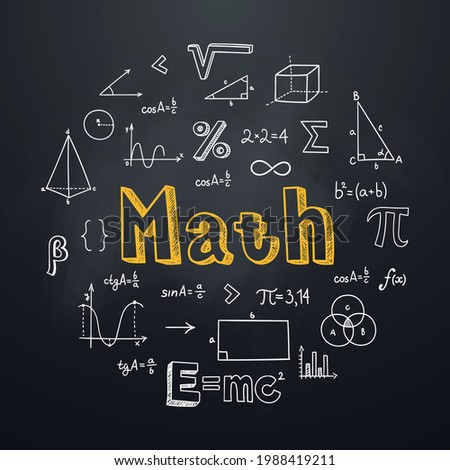 Math chalkboard background in hand drawn style. Round composition with lettering and mathematical symbols and formulas. Education subject. Ideal for school poster, graphic print, banner. Foto stock ©